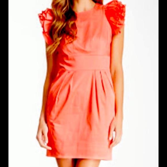 Ruffled Flutter Sleeve Dress - Size 8